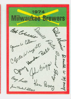 1974 Topps Checklists 13 Milwaukee Brewers Near-Mint