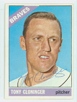Tony Cloninger AUTOGRAPH d.18 1966 Topps #10 Braves CARD IS VG; AUTO CLEAN