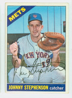 Johnny Stephenson AUTOGRAPH 1966 Topps #17 Mets CARD IS VG; CRN DING, AUTO CLEAN