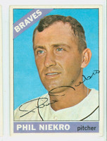 Phil Niekro AUTOGRAPH 1966 Topps #28 Braves CARD IS CLEAN VG/EX