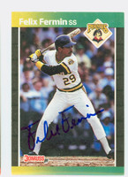 Felix Fermin AUTOGRAPH 1989 Donruss Pirates 