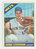 Johnny Stephenson AUTOGRAPH 1966 Topps #17 Mets CARD IS G/VG, CRN WEAR, AUTO CLEAN