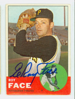 Roy Face AUTOGRAPH 1963 Topps #409 Pirates CARD IS VG, CRN WEAR, AUTO CLEAN  [SKU:FaceR1218_T63BBk]