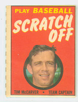 1970 Topps Scratch Off Baseball Tim McCarver St. Louis Cardinals Excellent