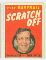 1970 Topps Scratch Off Baseball Tim McCarver St. Louis Cardinals Near-Mint
