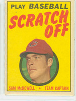 1970 Topps Scratch Off Baseball Sam McDowell Cleveland Indians Excellent