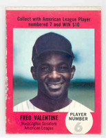 1968 Atlantic Oil Fred Valentine Washington Senators Very Good
