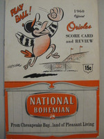 1960 Orioles Program vs Senators (20 pg) Scored Jul 9 Wilhelm vs Woodeshick (Was 7-2, HR Killebrew 2) - Not detailed scoring Excellent [Lt wear on cover, non-detailed scoring; inc. Oriole stat sheet]