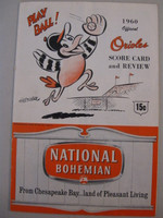1960 Orioles Program vs White Sox (20 pg) Scored May 4 Wilhelm vs Wynn (Bal 6-4) Fair to Good [Heavy wear, creasing on covers; scored in red ink]