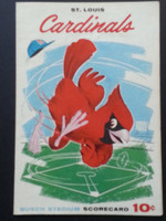 1960 Cardinals Scorecard July 16 vs Cubs Scored - McDaniel vs Hobbie (Stl 2-1, Crowe HR) Excellent
