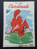 1960 Cardinals Scorecard Aug 20 vs Dodgers Scored - Simmons vs McDevitt (LA 2-1, James HR) Very Good