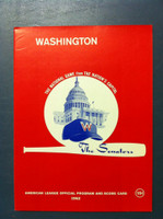 1962 Senators Program vs Orioles (28 pg) Unscored Near-Mint Plus [Very sharp, feels like new; very minor cover wear]
