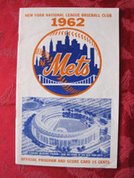 1962 Mets Game Program First Season! Vs Dodgers (24 pg) Scored May 30 - Miller vs Podres (LA 6-5, Hodges 2 HR) Excellent to Mint [Very lt wear on cover, sm dogear on bottom right pages, contents great]