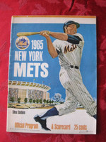1965 Mets Game Program vs Astros (28 pg) Scored 2 INN ONLY July 9 - Fisher vs Dierker (Hou 6-2, Morgan 3 RBI) Excellent to Mint [Lt wear on binding; contents very clean]