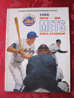 1966 Mets Game Program vs Reds (32 pg) Unscored Line-ups WRT in pen September 5 - Fisher vs Pappas (Cin 8-2, Rose 3 Hits) Very Good to Excellent [Lt discoloration on cover; contents great]