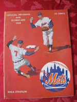 1968 Mets Game Program vs Cardinals Scored September 1 - Selma vs Hughes (Stl 3-2 11 IN) Excellent to Mint [Lt wear on cover; very neatly scored for 11 INN]