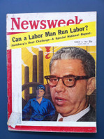 1961 Newsweek March 6 Arthur Goldberg - JFK's Labor Secretary Good to Very Good Mailing label is partially removed