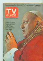 1973 TV Guide Apr 21 Raymond Burr as Pope John Eastern Washington edition Very Good to Excellent - No Mailing Label  [lt wear and scuffing on cover, contents fine]