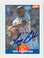 Terry Blocker AUTOGRAPH 1989 Score Braves 