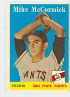 1958 Topps Baseball 37 Mike McCormick ROOKIE San Francisco Giants Good to Very Good