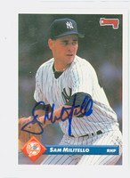 Sam Militello AUTOGRAPH 1993 Donruss Yankees 