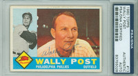 Wally Post AUTOGRAPH d.82 1960 Topps #13 Phillies PSA/DNA BLUE SLIP; CARD IS CLEAN EX