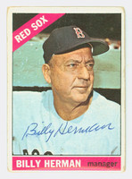Billy Herman AUTOGRAPH d.92 1966 Topps #37 Red Sox CARD IS POOR; CREASING  [SKU:HermB88_T66BBV]