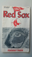 1963 Red Sox Program vs Indians (24 pg) Scored Jun 27 Wood vs Latman (Cle 6-4, HR Yaz, Nixon) Very Good [Compact fold and heavy scuffing on cover]