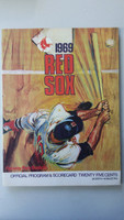 1969 Red Sox Program vs Tigers (32 pg) Scored Sep 28 Brett vs Lolich (Det 10-3, Lolich 19th win, HR Kaline, Stanley, Tresh) Excellent [Non detailed scoring, stray WRT, ow clean]