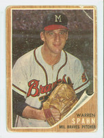 1962 Topps Baseball 100 Warren Spahn Milwaukee Braves Poor