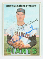 Lindy McDaniel AUTOGRAPH 1967 Topps #46 Giants WAX RESIDUE ON CARD