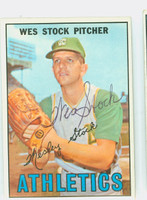 Wes Stock AUTOGRAPH 1967 Topps #74 Athletics CARD IS CLEAN EX/MT  [SKU:StocW1799_T67BBm4]