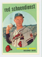 1959 Topps Baseball 480 Red Schoendienst Milwaukee Braves Good to Very Good
