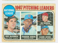 Ferguson Jenkins AUTOGRAPH 1968 Topps NL Pitching Leaders #9 Cubs CARD IS VG; CRN WEAR, AUTO CLEAN
