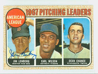 Jim Lonborg AUTOGRAPH 1968 Topps AL Pitching Leaders #10 LONBORG CARD IS G/VG; SL BEND, AUTO CLEAN