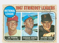Gaylord Perry AUTOGRAPH 1968 Topps NL Strikeout Leaders #11 Giants CARD IS G/VG; CRN WEAR, AUTO CLEAN  [SKU:PerrG1629_T68BBKLcm]
