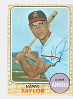 Hawk Taylor AUTOGRAPH d.12 1968 Topps #52 Angels CARD IS VG/EX, AUTO CLEAN
