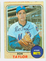 Ron Taylor AUTOGRAPH 1968 Topps #421 Mets CARD IS VG, CRN WEAR, OC; AUTO CLEAN