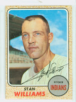 Stan Williams AUTOGRAPH 1968 Topps #54 Indians CARD IS F/G; CREASE, AUTO CLEAN  [SKU:WillS752_T68BBcm]
