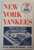 1961 Yankees Program vs Indians (24 pg) Scored Sep 10 Daley vs Perry (NY 9-3, Mantle HR #53, Howard HR #18) Very Good to Excellent [Wear on cover and scorecard, ow clean; neatly scored]