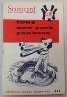 1964 Yankees Program vs Twins (32 pg) Unscored LINEUPS WRT ONLY Jul 5 Ford vs Grant (Min 9-2, HR Killebrew #30) Excellent [Very lt scuffing on front cover, ow very clean]