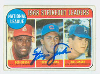 Ferguson Jenkins AUTOGRAPH 1969 Topps NL Strikeout Leaders #12 Cubs CARD IS F/P; HEAVY CREASE