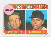 Steve Jones AUTOGRAPH 1969 Topps #49 Royals Q VARIATION ROOKIE CARD IS VG; CRN WEAR, AUTO CLEAN