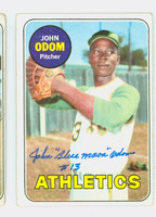 John Odom AUTOGRAPH 1969 Topps #195 Athletics CARD IS VG; CRN WEAR, AUTO CLEAN