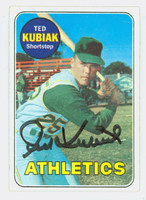 Ted Kubiak AUTOGRAPH 1969 Topps #281 Athletics CARD IS G/VG; CRN CREASE, AUTO CLEAN