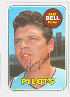 Gary Bell AUTOGRAPH 1969 Topps #377 Pilots CARD IS F/G; RND CRNS; AUTO CLEAN  [SKU:BellG1423_T69BBCC]