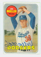 Joe Moeller AUTOGRAPH 1969 Topps #444 Dodgers Yellow Letters CARD IS CLEAN VG/EX