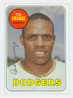 Ted Savage AUTOGRAPH 1969 Topps #471 Dodgers Yellow Letters CARD IS CLEAN VG/EX
