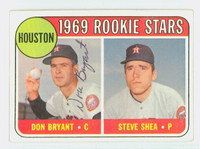 Don Bryant AUTOGRAPH d.15 1969 Topps #499 Astros ROOKIE CARD IS G/VG; CRN WEAR, AUTO CLEAN