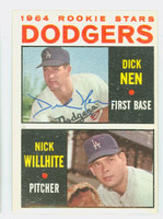 Dick Nen AUTOGRAPH 1964 Topps #14 Dodgers Rookies CARD IS EX/MT